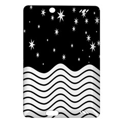 Black And White Waves And Stars Abstract Backdrop Clipart Amazon Kindle Fire Hd (2013) Hardshell Case by Simbadda