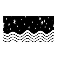 Black And White Waves And Stars Abstract Backdrop Clipart Satin Wrap by Simbadda