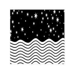 Black And White Waves And Stars Abstract Backdrop Clipart Small Satin Scarf (square) by Simbadda