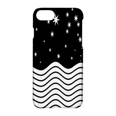 Black And White Waves And Stars Abstract Backdrop Clipart Apple Iphone 7 Hardshell Case by Simbadda