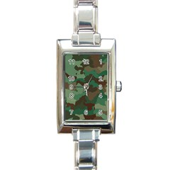 Camouflage Pattern A Completely Seamless Tile Able Background Design Rectangle Italian Charm Watch by Simbadda