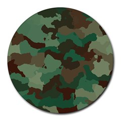 Camouflage Pattern A Completely Seamless Tile Able Background Design Round Mousepads by Simbadda
