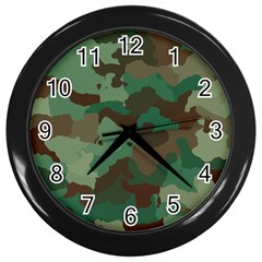 Camouflage Pattern A Completely Seamless Tile Able Background Design Wall Clocks (black) by Simbadda