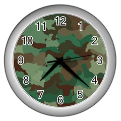 Camouflage Pattern A Completely Seamless Tile Able Background Design Wall Clocks (silver)  by Simbadda