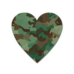 Camouflage Pattern A Completely Seamless Tile Able Background Design Heart Magnet by Simbadda