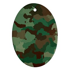 Camouflage Pattern A Completely Seamless Tile Able Background Design Oval Ornament (two Sides) by Simbadda