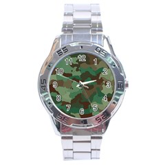 Camouflage Pattern A Completely Seamless Tile Able Background Design Stainless Steel Analogue Watch by Simbadda