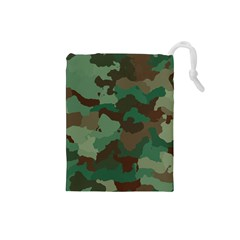 Camouflage Pattern A Completely Seamless Tile Able Background Design Drawstring Pouches (small)  by Simbadda