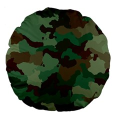 Camouflage Pattern A Completely Seamless Tile Able Background Design Large 18  Premium Flano Round Cushions by Simbadda