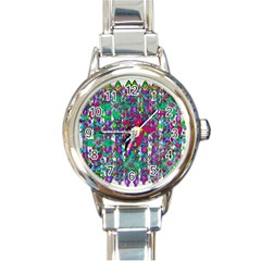 Sunny Roses In Rainy Weather Pop Art Round Italian Charm Watch by pepitasart
