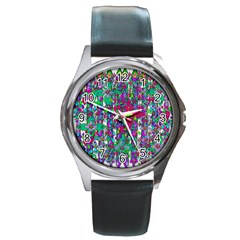 Sunny Roses In Rainy Weather Pop Art Round Metal Watch by pepitasart