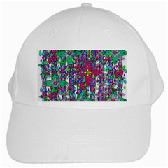 Sunny Roses In Rainy Weather Pop Art White Cap by pepitasart