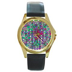 Sunny Roses In Rainy Weather Pop Art Round Gold Metal Watch by pepitasart