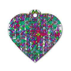 Sunny Roses In Rainy Weather Pop Art Dog Tag Heart (one Side) by pepitasart
