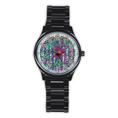 Sunny Roses In Rainy Weather Pop Art Stainless Steel Round Watch by pepitasart