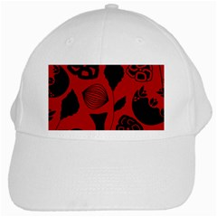 Congregation Of Floral Shades Pattern White Cap by Simbadda