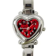 Congregation Of Floral Shades Pattern Heart Italian Charm Watch by Simbadda