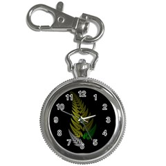 Drawing Of A Fractal Fern On Black Key Chain Watches by Simbadda