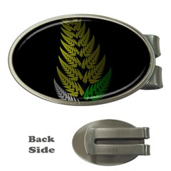 Drawing Of A Fractal Fern On Black Money Clips (oval)  by Simbadda
