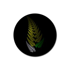 Drawing Of A Fractal Fern On Black Rubber Round Coaster (4 Pack)  by Simbadda