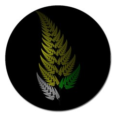 Drawing Of A Fractal Fern On Black Magnet 5  (round) by Simbadda