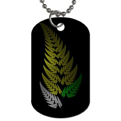 Drawing Of A Fractal Fern On Black Dog Tag (one Side) by Simbadda