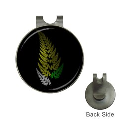 Drawing Of A Fractal Fern On Black Hat Clips With Golf Markers by Simbadda