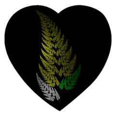Drawing Of A Fractal Fern On Black Jigsaw Puzzle (heart) by Simbadda