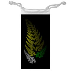Drawing Of A Fractal Fern On Black Jewelry Bag by Simbadda