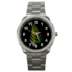 Drawing Of A Fractal Fern On Black Sport Metal Watch by Simbadda