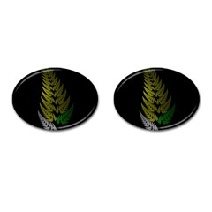 Drawing Of A Fractal Fern On Black Cufflinks (oval) by Simbadda