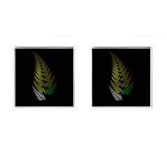 Drawing Of A Fractal Fern On Black Cufflinks (square) by Simbadda