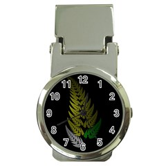 Drawing Of A Fractal Fern On Black Money Clip Watches by Simbadda