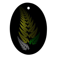 Drawing Of A Fractal Fern On Black Oval Ornament (two Sides) by Simbadda