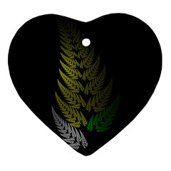 Drawing Of A Fractal Fern On Black Heart Ornament (two Sides) by Simbadda