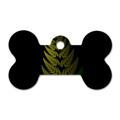 Drawing Of A Fractal Fern On Black Dog Tag Bone (two Sides) by Simbadda
