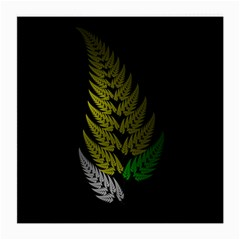 Drawing Of A Fractal Fern On Black Medium Glasses Cloth (2 Side) by Simbadda