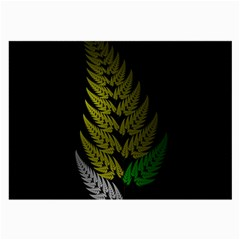 Drawing Of A Fractal Fern On Black Large Glasses Cloth by Simbadda