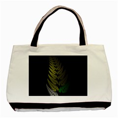 Drawing Of A Fractal Fern On Black Basic Tote Bag (two Sides) by Simbadda