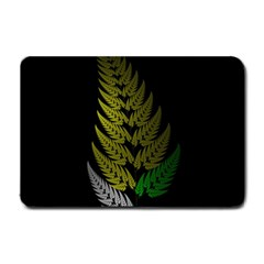 Drawing Of A Fractal Fern On Black Small Doormat  by Simbadda