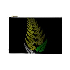 Drawing Of A Fractal Fern On Black Cosmetic Bag (large)  by Simbadda