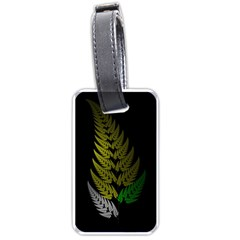 Drawing Of A Fractal Fern On Black Luggage Tags (one Side)  by Simbadda