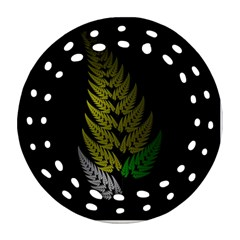Drawing Of A Fractal Fern On Black Round Filigree Ornament (two Sides) by Simbadda