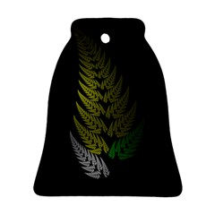 Drawing Of A Fractal Fern On Black Bell Ornament (two Sides) by Simbadda