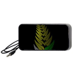 Drawing Of A Fractal Fern On Black Portable Speaker (black) by Simbadda