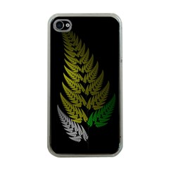 Drawing Of A Fractal Fern On Black Apple Iphone 4 Case (clear) by Simbadda