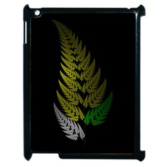 Drawing Of A Fractal Fern On Black Apple Ipad 2 Case (black) by Simbadda
