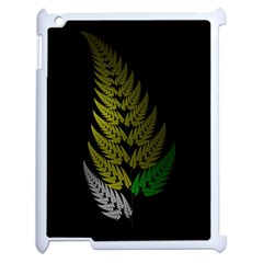 Drawing Of A Fractal Fern On Black Apple Ipad 2 Case (white) by Simbadda