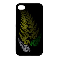 Drawing Of A Fractal Fern On Black Apple Iphone 4/4s Hardshell Case by Simbadda