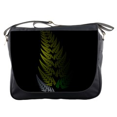 Drawing Of A Fractal Fern On Black Messenger Bags by Simbadda
